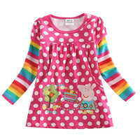 4 colors Fashionable girls frock hot children clothes polka dot dresses girls nova baby clothing autumn kids wear  child dresses