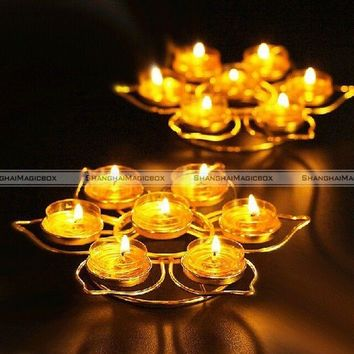 Buddist Lotus Alloy 7 Candle Holders Tealight candle holder