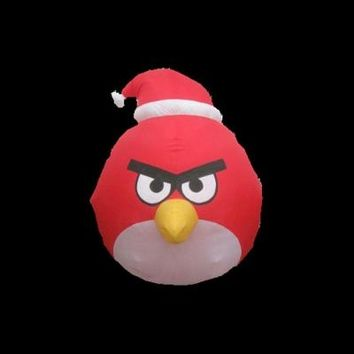 SheilaShrubs.com: Inflatable Holiday Red Angry Bird with Santa Hat 88323 by Gemmy Industries: Christmas Outdoor Decor