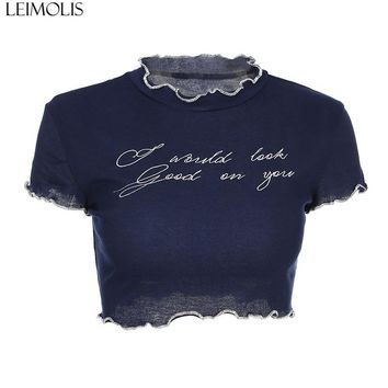 LEIMOLIS blue letter mesh ruffled collar t shirt women summer harajuku kawaii crop top punk rock gothic sexy streetwear tops