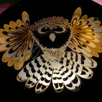 Halloween Owl Silver and Gold Painted on Black Plate Zentangle Party Plate Snacks Wall Table Decor Handmade Holidays