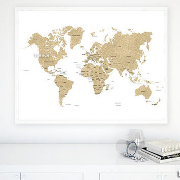 "40x30"" PRINTABLE world map, gold glitter map with countries and names, gold map, diy travel pinboard map, gold travels map - map039 002"