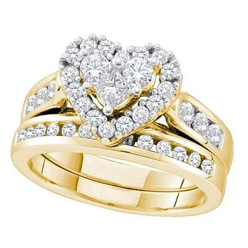14k Yellow Gold Women's Round Princess Diamond Heart Wedding Bridal Ring Set 1.00 Cttw - FREE Shipping (US/CAN)