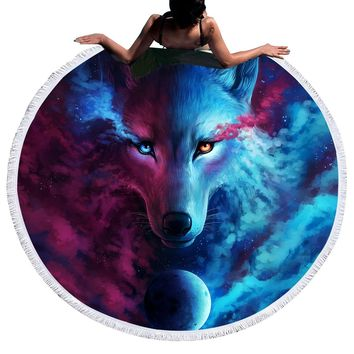 Where Light And Dark Meet by JoJoes Round Beach Towel Large for Adults Wolf  Toalla Tassel Blanket Tapestry