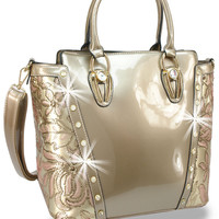 * Rhinestone and Metallic Sequin Accented Patent Handbag In Champagne