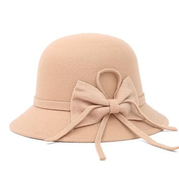 2017 Fashion Vintage Women Hat Wool Topper Fall And Winter Bow Large Brimmed Cap Beach Bowknot Winters Hats For Women