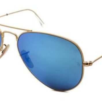 Sunglasses Ray-Ban RB3025 AVIATOR 112/17 MATTE GOLD/MIRROR BLUE Cal. 58