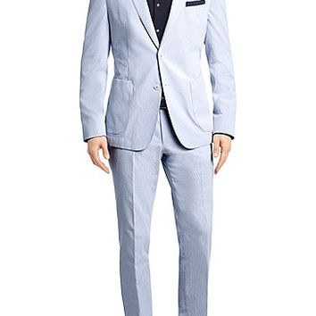 'Nayson/Bob' | Slim Fit, Cotton Blend Striped Suit by BOSS
