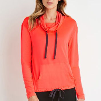 Perforated Funnel-Neck Pullover
