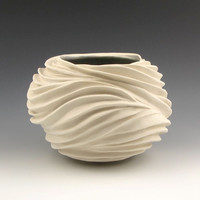 Carved Sculptural Ceramic Pottery Vessel Creamy by jtceramics