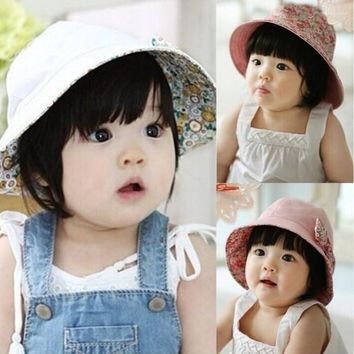 Newest 5M-3Y Princess Baby Infant Lace Hat Reversible Floral Bowknot Flower Bonnet Hats Sun Cap Bucket