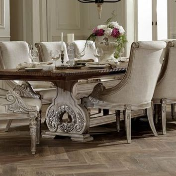 7 pc orleans II collection two tone white wash and weathered brown finish wood double pedestal dining table set