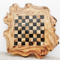 Father's Day Gift, Rustic Olive Wood Chess Board Set, Personalized Wooden Chess Set Game, Dad gift, Boyfriend Gift, Birthday Gift