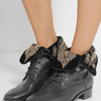 Etro - Embellished velvet and leather ankle boots