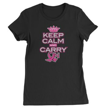 Keep Calm And Carry On Breast Cancer Awareness Womens T-shirt