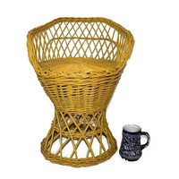 Vintage Yellow Wicker Child's Chair c1970s Barrel Style