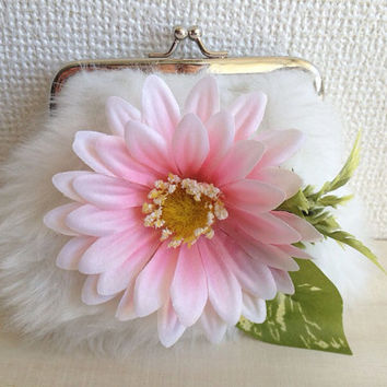 Bloom in the snow - Soft Fluffy Furry Purse - White Faux Fur with Pink Flower Embellishments