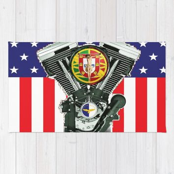 Luso-American Motorcycle Patriot. Rug by Tony Silveira