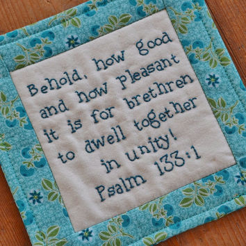 Religious Coaster - Mug Rug - Bible Verse - Scripture - Psalm 133 - Hand Stitched - Blue - Home Decor