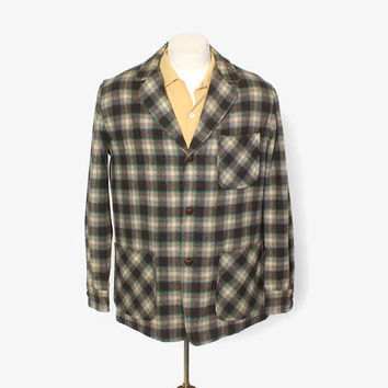 Vintage 60s PENDLETON Jacket / 1960s Men's 49er Style Wool PLAID Blazer M