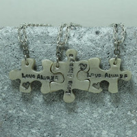 Puzzle Necklace Set of 3 interlocking necklaces Love Always Polymer Clay Jewelry