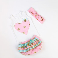 Hearts & Gold Dots Bloomer 2pc Outfit - Pink