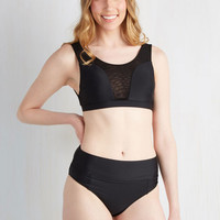 80s High Waist Sol Mates Swimsuit Top in Black
