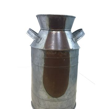Countryside Galvanized Metal Milk Can Shape Pitcher, Gray By Benzara
