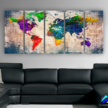 "XLARGE 30""x70"" 5 Panels 30""x14"" Ea Art Canvas Print Watercolor Multi Color Old Map World Push Pin Travel Wall decor (framed 1.5"" depth)M1808"