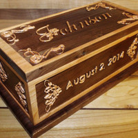 Personalized Wedding Ring Box Two-Tone Carving Solid Walnut and Cherry