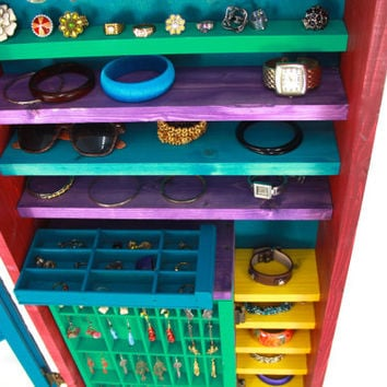 Bright Wall Hanging Jewelry Organizer ... Handmade by TangleandFold