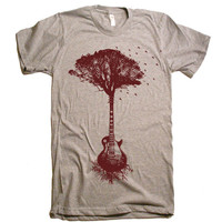 Mens Guitar Tree Of Life Science T Shirt - American Apparel Tshirt - XS S M L XL and XXL (28 Color Options)