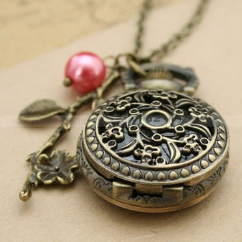 Vintage pocket watch necklace with antique bronze flower by mosnos