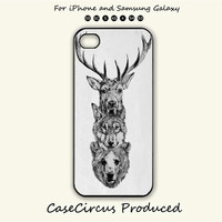 Deer Wolf Bear ,Wolf iphg ,iPhone 5 case, iPhone 5C Case, iPhone 5S , Phone case, iPhone 4S , Case,Samsung Galaxy S3, Samsung Galaxy S4