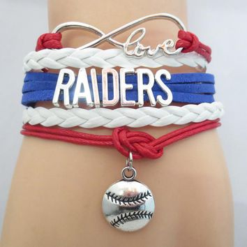 Infinity Love  RAIDERS baseball Sports college Team Bracelet  blue red white Customize Sports friendship Bracelets B09531