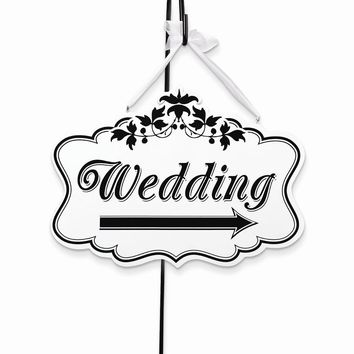 White/Black Scalloped 2-sided Wedding Arrow Sign - Perfect Wedding Gift