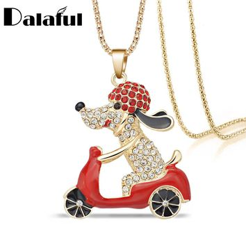 Lovely Dog Motorcycle Biker Crystal Rhinestone Necklace & Pendant