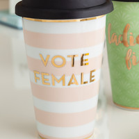 Vote Female Porcelain and Gold Travel Mug