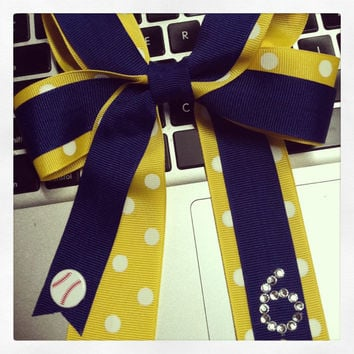 Little League Softball Hair Bow with number 9938361efa7