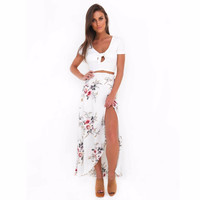 Ebizza Elegant Print Boho maxi skirt dress women summer  high waist  Asymmertrical beach Streetwear chic skirt dress