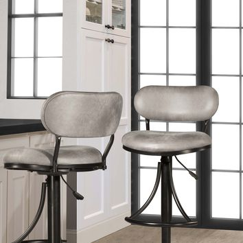 Athena Swivel Adjustable Counter ,Bar Stool - Black Metal Finish