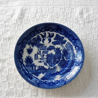Antique or Vintage BLUE WILLOW Patterned  Saucers/1 Stamped JAPAN/1 Stamped House Of Blue Willow/1 Stamped Libertan/Lot Blue Willow Saucers
