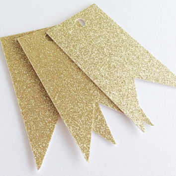 "10 Gold Glitter Hang Tag, Gift Tag, Price Tag Die cuts-  3"" x 1.5"" - Christmas, Birthday, Scrapbooking, Card Making, Weddings, Favor Bags"