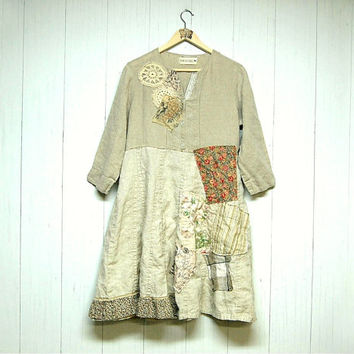 XL Linen Tunic Patchwork Dress, Upcycled Clothing, Boho Chic Clothing, Free People Anthropologie Inspired, Lagenlook Clothing