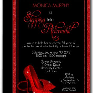 Red Glitter Shoes Retirement Invitations
