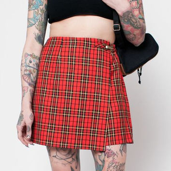 Plaid Skort with Gold Buckle