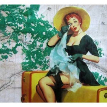 vintage SEXY pin-up girl TEARY GOODBYE poster 24X36 SUITCASE LEGGY stocking