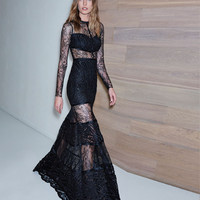 Alexis Joelle Long Gown in Embroidered Black Lace