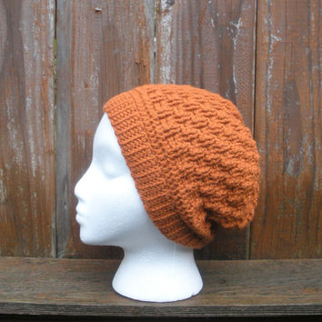 Unisex textured crochet basket weave slouch beanie hat in Pumpkin, ready to ship.