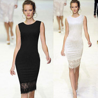 Slim Lace O-neck Sleeveless Knee-length Dress